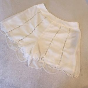 NWOT White Beaded Scallop Shorts